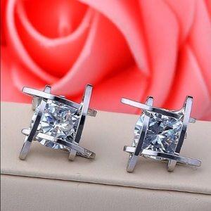 Silver Tone 3D Cage Diamond Stud Earrings Ear Ring